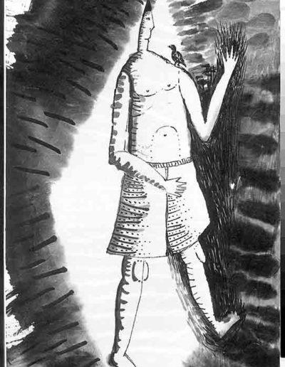 1998 Eugeniusz Józefowski, Sceny z postaciami, książka artystyczna, rysunki tuszem na papierze ryżowym, unikat, Liguria Włochy, format 31,5 x 58,5 cm 08