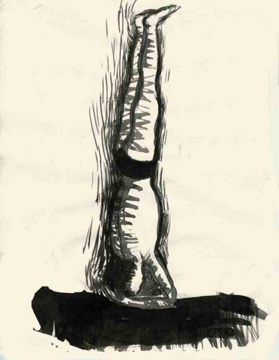 1998 Eugeniusz Józefowski, Stojąc na głowie, tusz na papierze, 30 x 21 cm
