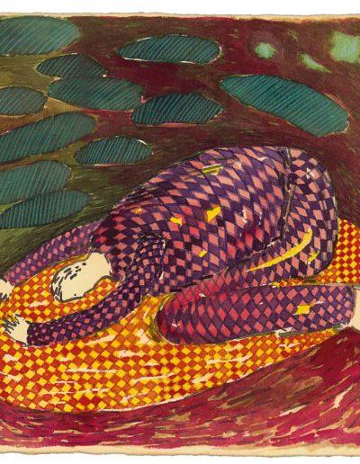 1998 Eugeniusz Józefowski, Trzecia z cyklu W kółko to samo, akwarela na papierze czerpanym, 22,5 x 22,5 cm