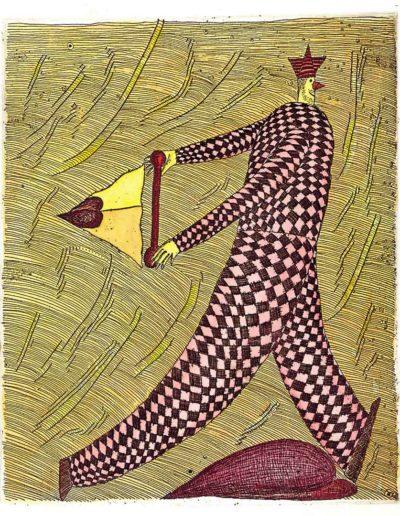 1998 Eugeniusz Józefowski, Ucieczka przed trójkątem, 21 x 17,5 cm, intaglio