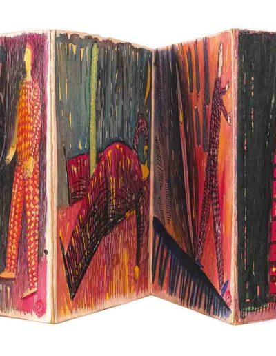 1998 Eugeniusz Józefowski, W kółko to samo, książka artystyczna akwarele na papierze czerpanym, format 24 cm x 23 cm x 1,2 cm 02