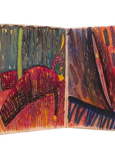 1998 Eugeniusz Józefowski, W kółko to samo, książka artystyczna akwarele na papierze czerpanym, format 24 cm x 23 cm x 1,2 cm 03