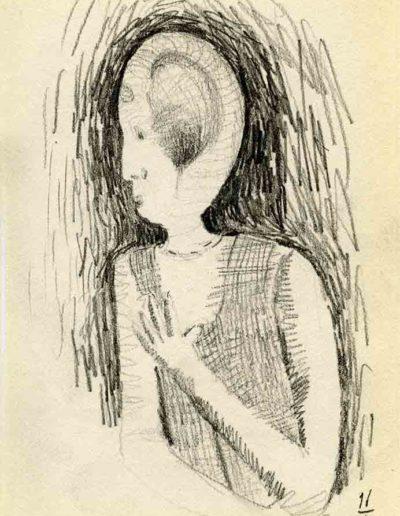 1999 2000 Eugeniusz Józefowski, Szkicownik warszawski,rysunek ołówkiem, format 10 cm x 15 cm, 06