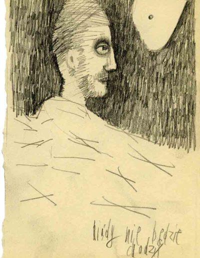 1999 2000 Eugeniusz Józefowski, Szkicownik warszawski,rysunek ołówkiem, format 10 cm x 15 cm, 09
