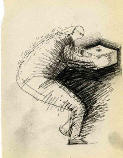 1999 2000 Eugeniusz Józefowski, Szkicownik warszawski,rysunek ołówkiem, format 10 cm x 15 cm, 10