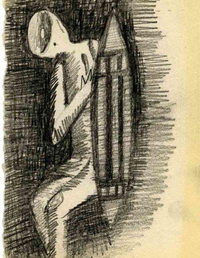 1999 2000 Eugeniusz Józefowski, Szkicownik warszawski,rysunek ołówkiem, format 10 cm x 15 cm, 11