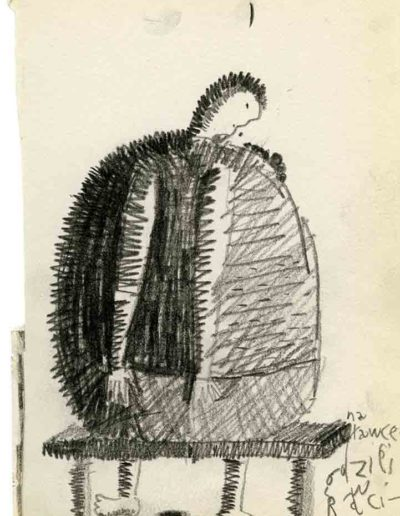 1999 2000 Eugeniusz Józefowski, Szkicownik warszawski,rysunek ołówkiem, format 10 cm x 15 cm, 12