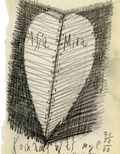 1999 2000 Eugeniusz Józefowski, Szkicownik warszawski,rysunek ołówkiem, format 10 cm x 15 cm, 13