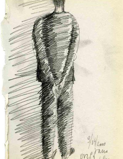 1999 2000 Eugeniusz Józefowski, Szkicownik warszawski,rysunek ołówkiem, format 10 cm x 15 cm, 15