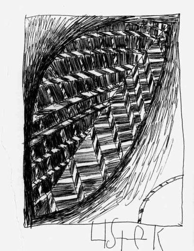 1999 2000 Eugeniusz Józefowski, Szkicownik warszawski,rysunek ołówkiem, format 10 cm x 15 cm, 17