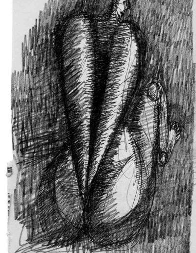 1999 2000 Eugeniusz Józefowski, Szkicownik warszawski,rysunek ołówkiem, format 10 cm x 15 cm, 20