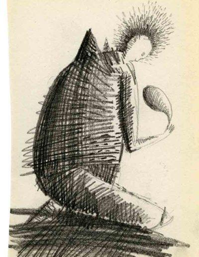 1999 2000 Eugeniusz Józefowski, Szkicownik warszawski,rysunek ołówkiem, format 10 cm x 15 cm, 21