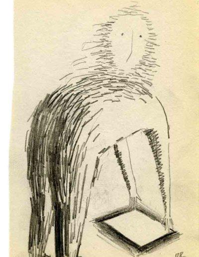 1999 2000 Eugeniusz Józefowski, Szkicownik warszawski,rysunek ołówkiem, format 10 cm x 15 cm, 23