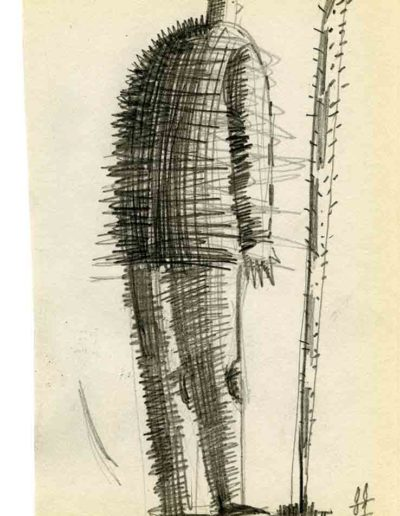 1999 2000 Eugeniusz Józefowski, Szkicownik warszawski,rysunek ołówkiem, format 10 cm x 15 cm, 24