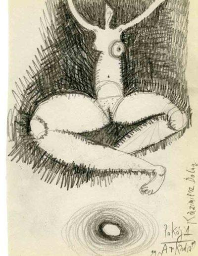 1999 2000 Eugeniusz Józefowski, Szkicownik warszawski,rysunek ołówkiem, format 10 cm x 15 cm, 25
