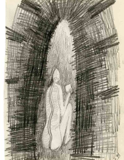 1999 2000 Eugeniusz Józefowski, Szkicownik warszawski,rysunek ołówkiem, format 10 cm x 15 cm, 26