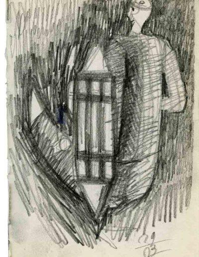 1999 2000 Eugeniusz Józefowski, Szkicownik warszawski,rysunek ołówkiem, format 10 cm x 15 cm, 30
