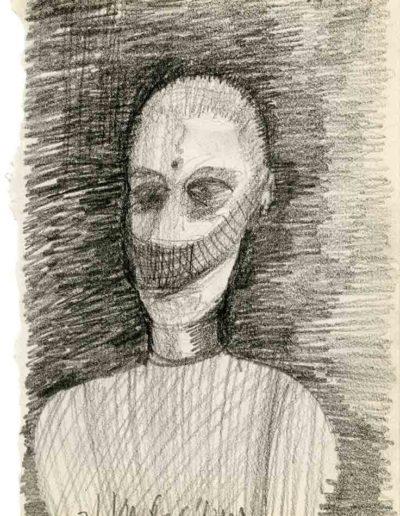 1999 2000 Eugeniusz Józefowski, Szkicownik warszawski,rysunek ołówkiem, format 10 cm x 15 cm, 34