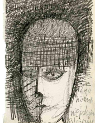 1999 2000 Eugeniusz Józefowski, Szkicownik warszawski,rysunek ołówkiem, format 10 cm x 15 cm, 35