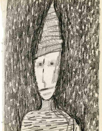 1999 2000 Eugeniusz Józefowski, Szkicownik warszawski,rysunek ołówkiem, format 10 cm x 15 cm, 36