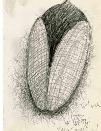 1999 2000 Eugeniusz Józefowski, Szkicownik warszawski,rysunek ołówkiem, format 10 cm x 15 cm, 37