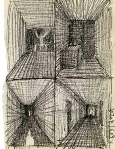 1999 2000 Eugeniusz Józefowski, Szkicownik warszawski,rysunek ołówkiem, format 10 cm x 15 cm, 40