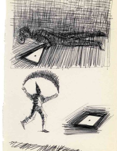 1999 2000 Eugeniusz Józefowski, Szkicownik warszawski,rysunek ołówkiem, format 10 cm x 15 cm, 43