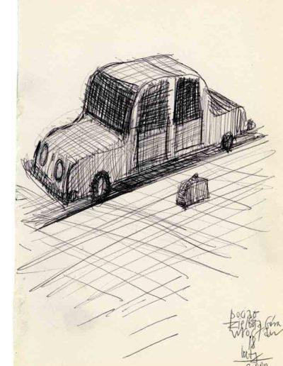 1999 2000 Eugeniusz Józefowski, Szkicownik warszawski,rysunek ołówkiem, format 10 cm x 15 cm, 44