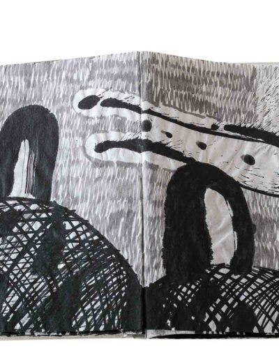 1999 Eugeniusz Józefowski, Energie interaktywne, książka harmonijkowa na papierze ryżowym, 35 stron format 28 x 36,5 x 1,5 cm 9
