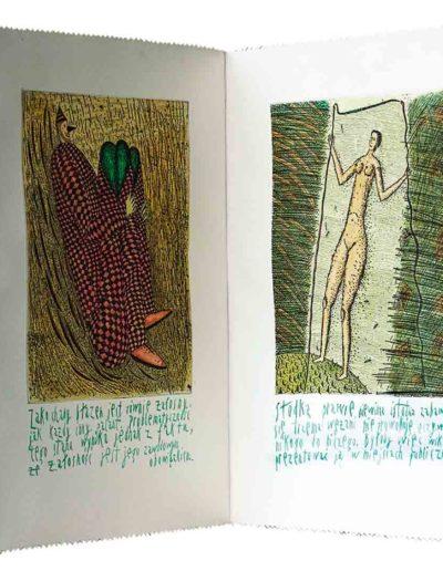 1999 Eugeniusz Józefowski, Kilka- naście komentarzy, książka harmonijkowa składająca się z 11 grafik ręcznie kolorowanych i kaligrafowanych, format 27 x 36,5 x 1 cm 01-2