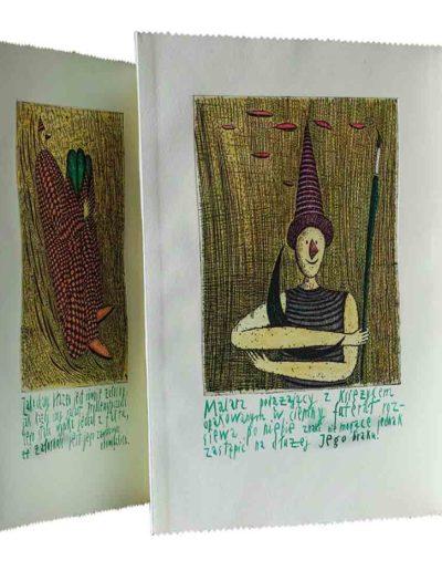 1999 Eugeniusz Józefowski, Kilka- naście komentarzy, książka harmonijkowa składająca się z 11 grafik ręcznie kolorowanych i kaligrafowanych, format 27 x 36,5 x 1 cm 02
