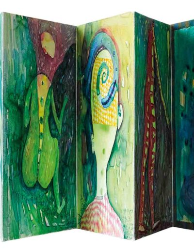 1999 Eugeniusz Józefowski, Kolejne dni sierpnia, książka harmonijkowa składająca się z 12 akwarel, format 27 x 28 x 1 cm 01