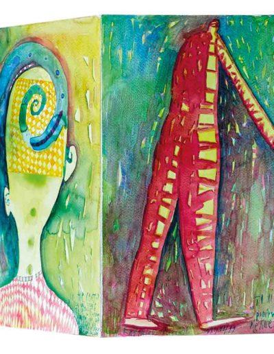 1999 Eugeniusz Józefowski, Kolejne dni sierpnia, książka harmonijkowa składająca się z 12 akwarel, format 27 x 28 x 1 cm 03