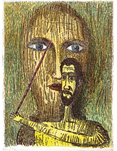 1999 Eugeniusz Józefowski, Malując oczy kobiecie, 12 x 9 cm, intaglio