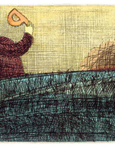 1999 Eugeniusz Józefowski, Obsesjinat litery, 9 x 12 cm, intaglio