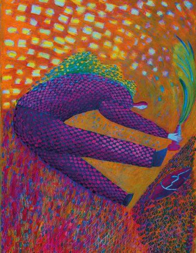 1999 Eugeniusz Józefowski, Odpadając bez kamery, olej na płótnie, 53 x 70,5 cm