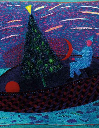 1999 Eugeniusz Józefowski, Z drzewem na lódce, olej na płótnie, 38 x 33 cm