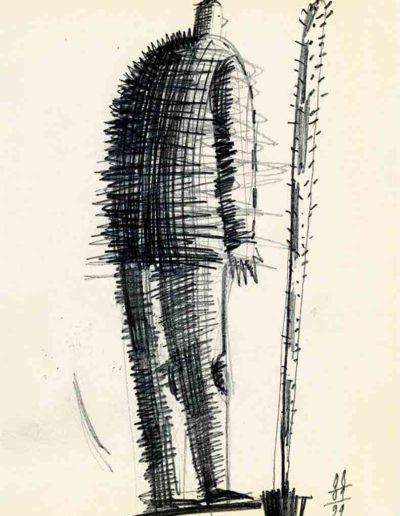 1999 Eugeniusz Józefowski, rysunek ze szkicownika 10 x 15 cm 02