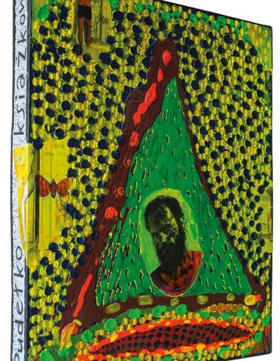 1999 Rozmyślając o latach osiemdziesiątych, Pudełko książkowe kolaże z fotografii i akryl na płycie pilśniowej oklejonej płótnem introligatorskim, 40 × 50 × 5cm