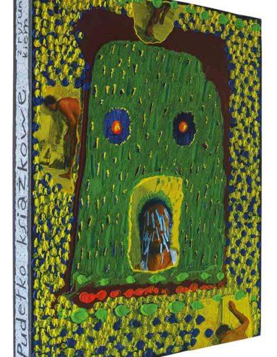 1999 Rozmyślając o rysowaniu na twarzy i papierach, Pudełko książkowe kolaże z fotografii i akryl na płycie pilśniowej oklejonej płótnem introligatorskim, 40 × 50 × 5cm