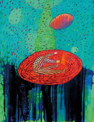 1999_2002 Eugeniusz Józefowski, Niewielki ukłon w odpowiednią stronę, olej na płótnie, 67,5 x 95 cm