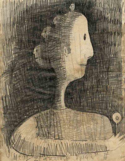 2000 Eugeniusz Józefowski, Śmiechy ze świniowego ujścia, 30 x 21 cm, rysunek ołówkiem na papierze