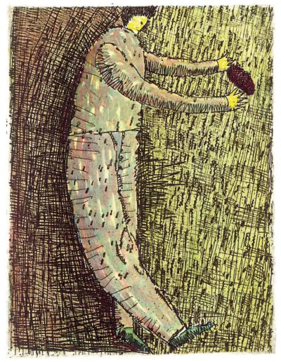 2000 Eugeniusz Józefowski, Facet z jajem, 15,5 x 12 cm, intaglio