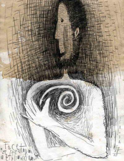 2000 Eugeniusz Józefowski, Facet ze spiralnymi wątpliwościami, 30 x 21 cm, rysunek ołówkiem na papierze