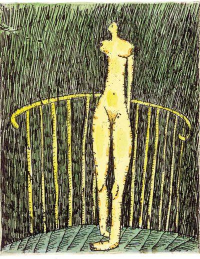 2000 Eugeniusz Józefowski, Kobieta przy balustradzie, 11,5 x 9,4 cm, intaglio