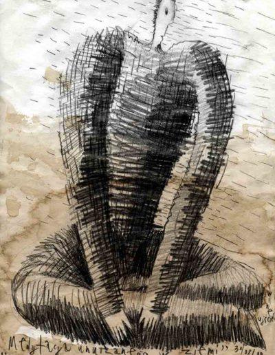 2000 Eugeniusz Józefowski, Medytacja unurzanego w ziemi, 30 x 21 cm, rysunek ołówkiem na papierze -2