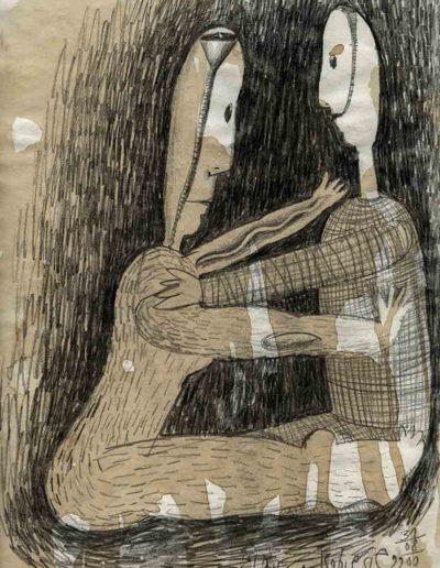 2000 Eugeniusz Józefowski, Myśląc o kobiecie, 30 x 21 cm, rysunek ołówkiem na papierze