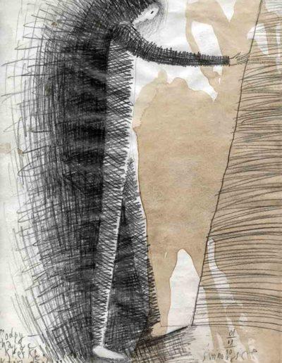 2000 Eugeniusz Józefowski, Odpychając kreske która dzieli, 30 x 21 cm, rysunek ołówkiem na papierze