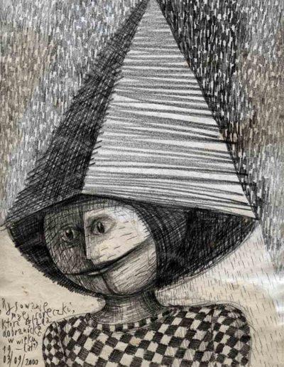 2000 Eugeniusz Józefowski, Rysowanie mojej córeczki, która ogląda dobranockę w wieku 19 lat, 30 x 21 cm, rysunek ołówkiem na papierze