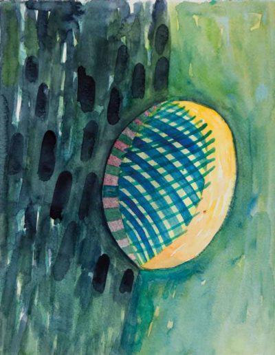 2000 Eugeniusz Józefowski, Szkic akwarelowy do niepowstałego obrazu,akwarela na papierze, 24 x 30 cm